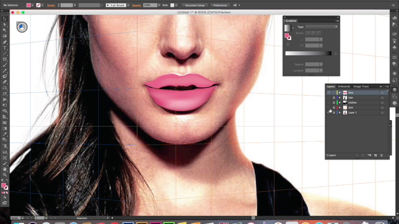 1280x720 Angelina Jolie From Photo To Realistic Vector Portrait Using Adobe