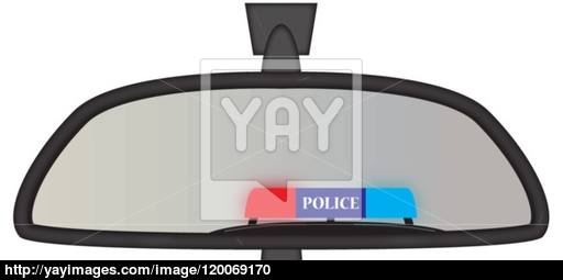 512x255 Police Sirens In Rear View Mirror Vector