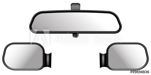 500x250 Set Of Car Mirrors. On White Background