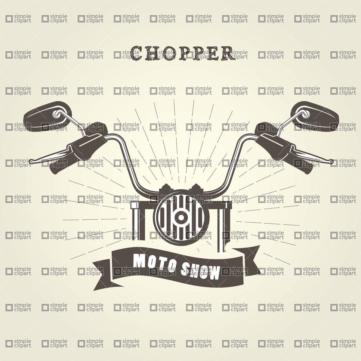 1200x1200 Chopper Moto Handlebar With Rear View Mirrors Vector Image