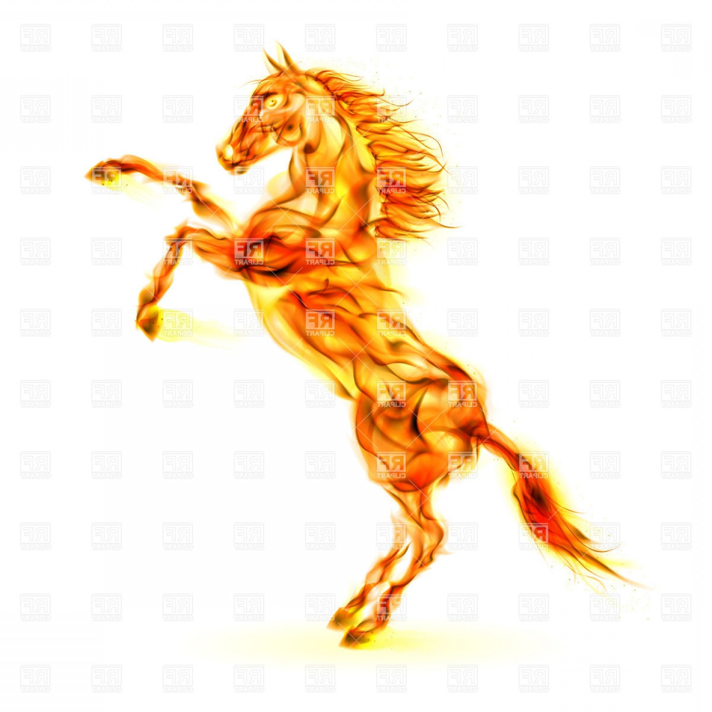 1440x1440 Fiery Rearing Up Horse Vector Clipart Arenawp