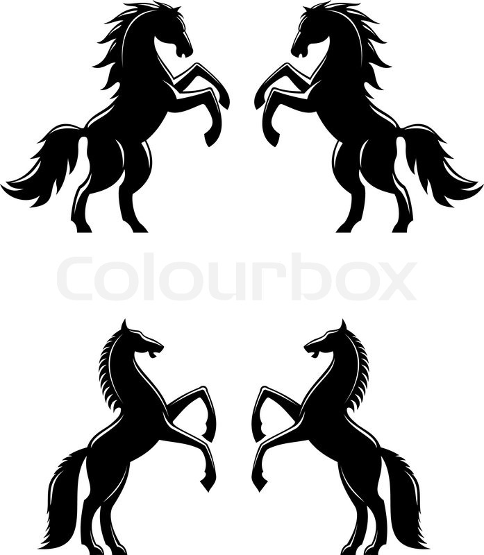 697x800 Two Rearing Up Horses Silhouettes In Black For Heraldry Design