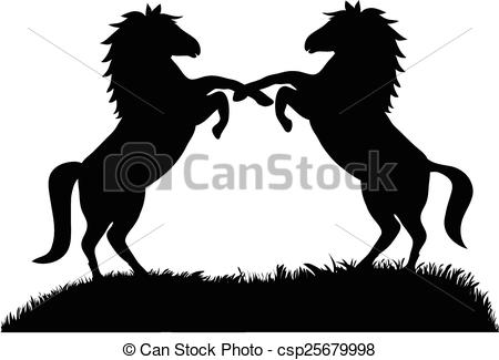 450x325 Vector, Silhouette Of Two Rearing Up Horses Against White Background.