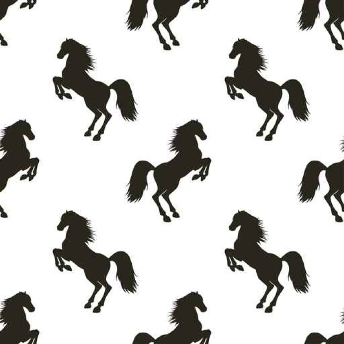 700x700 Vector Seamless Pattern With Rearing Horse. Wall Mural Pixers
