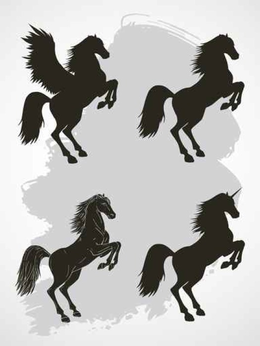 525x700 Vector Set Of Silhouettes Rearing Horse, Pegasus And Unicorn