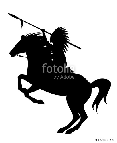 409x500 Indian Chief Riding A Rearing Up Horse Black Vector Silhouette
