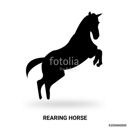 500x500 Rearing Horse Silhouette Isolated On White Background Stock Image