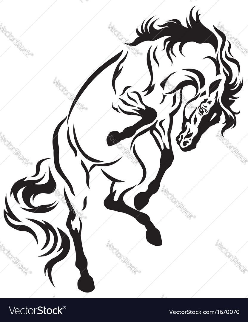 831x1080 Rearing Horse Tattoo Black And White Illustration. Download A Free