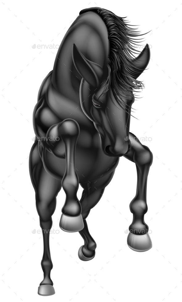 590x979 Black Rearing Horse Fonts Logos Icons Black Horses