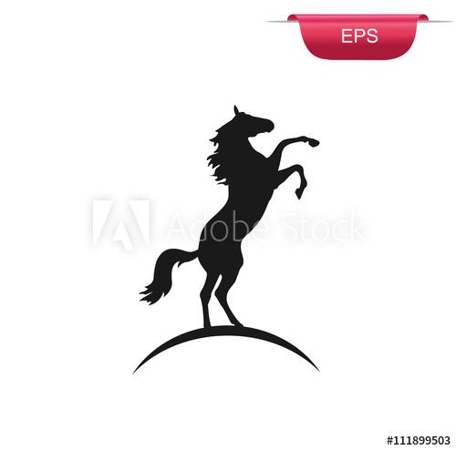 500x494 Black Rearing Horse, Vector Illustration