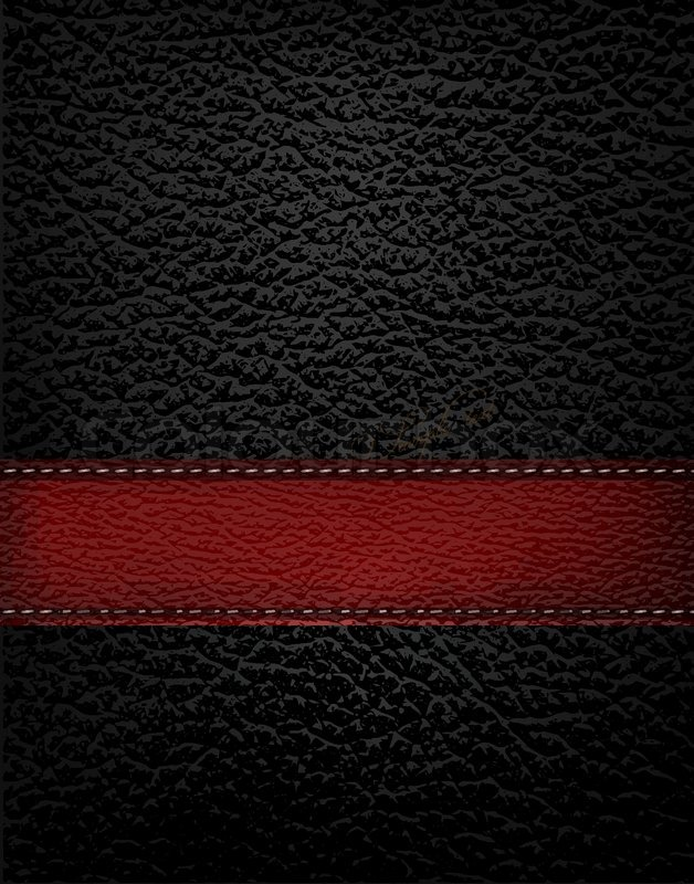 628x800 Black Leather Background With Red Leather Strip. Vector