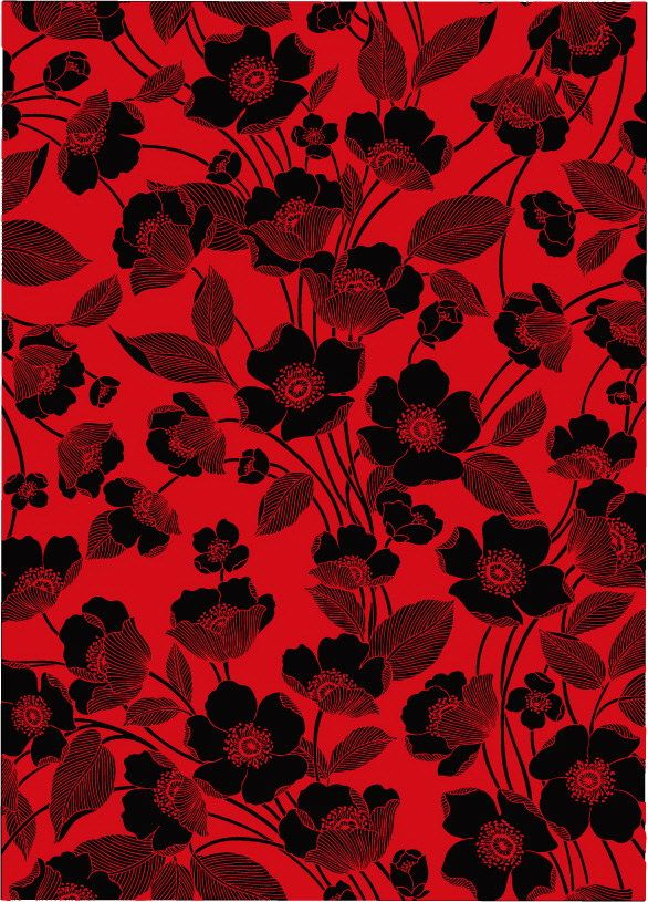 586x815 Flowers Red And Black Background Vector Lines Free Vector
