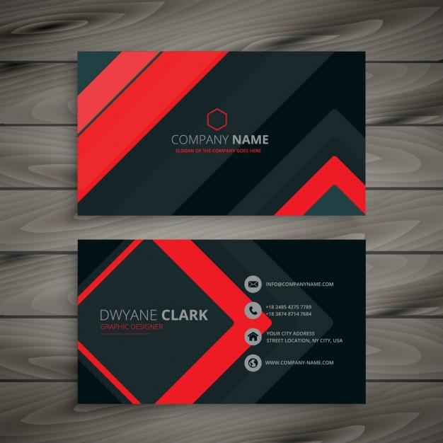 626x626 Modern Red And Black Business Card Vector Free Download