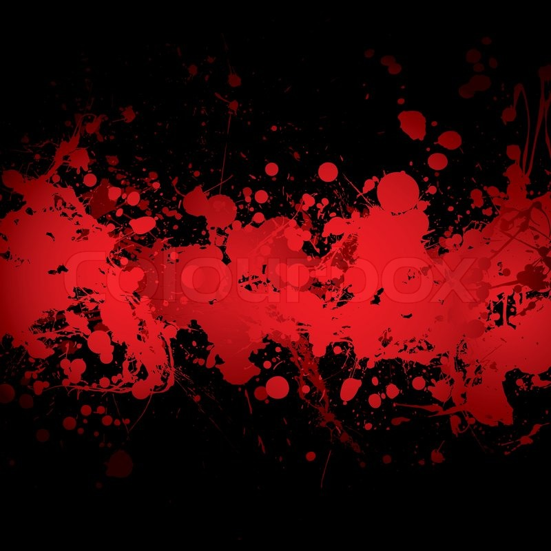 800x800 Abstract Blood Red Ink Splat Banner With Black Background Stock