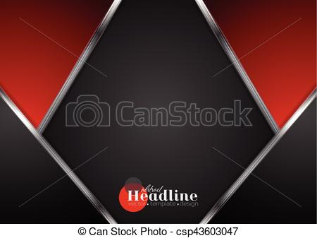 450x337 Abstract Contrast Tech Red Black Background. Silver Metallic Lines