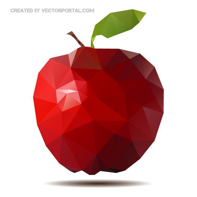 660x660 Red Apple Polygonal Free Vector 123freevectors