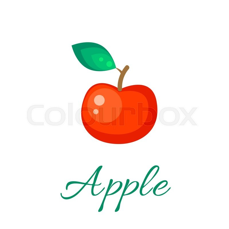 800x800 Red Apple Isolated Vector Icon. Apple Fruit On Branch With Leaf