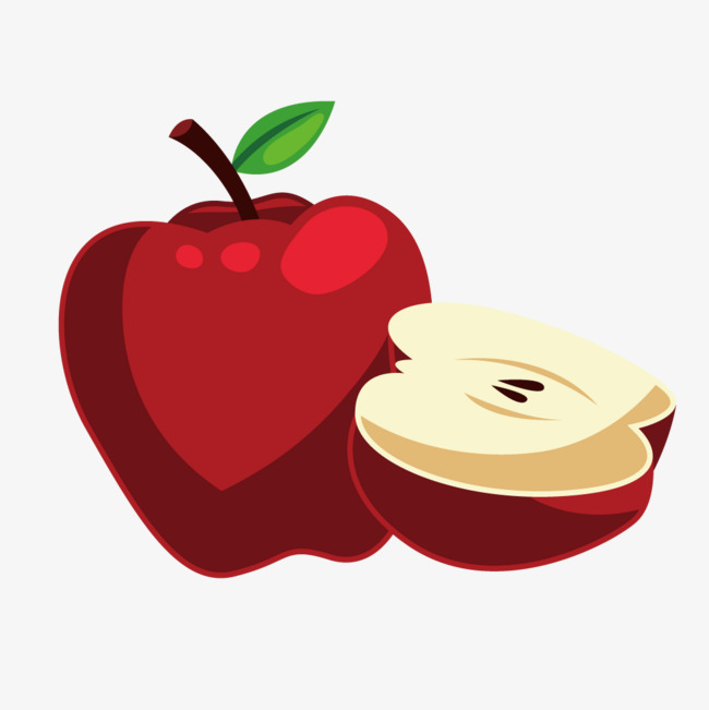 650x651 Vector Red Apple Apple Half Flat, Apple Vector, Flat, Vector Png