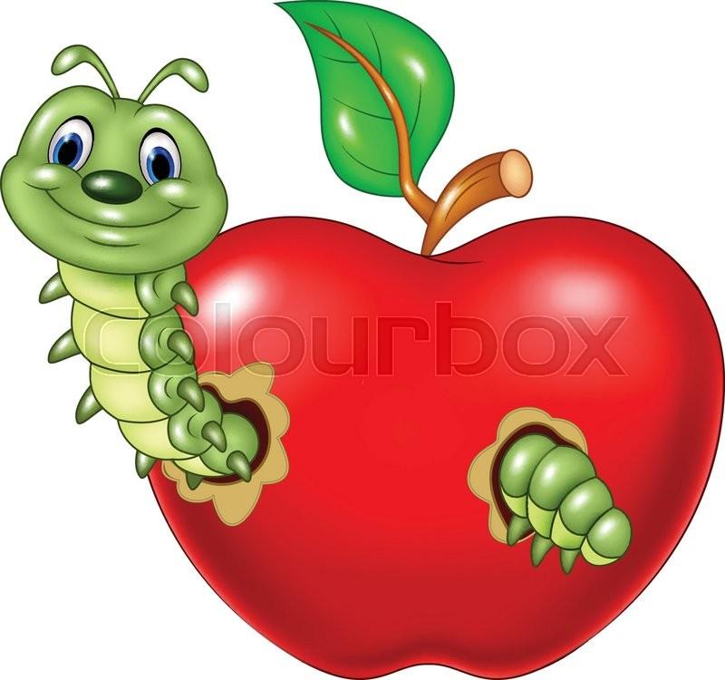 800x750 Vector Illustration Of Cartoon Caterpillars Eat The Red Apple