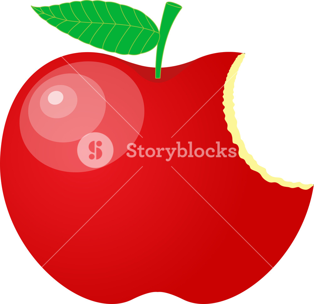 1000x968 Eaten Red Apple Vector Royalty Free Stock Image