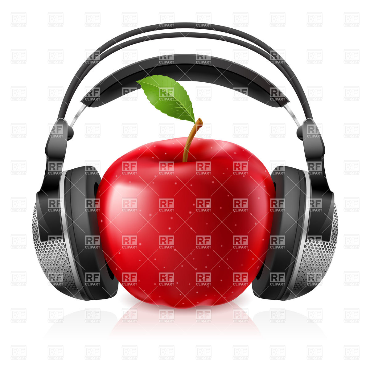 1200x1200 Headphones And Red Apple Vector Image Vector Artwork Of Food And