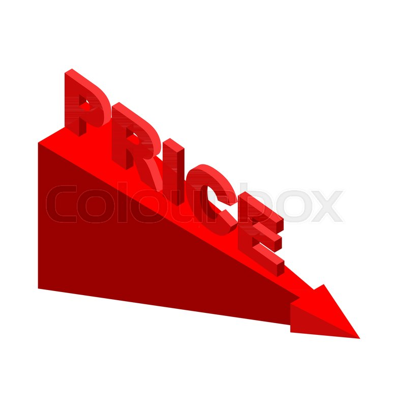 783x800 Fall Of Price, Red Arrow. Stock Market Decline. Stock Vector