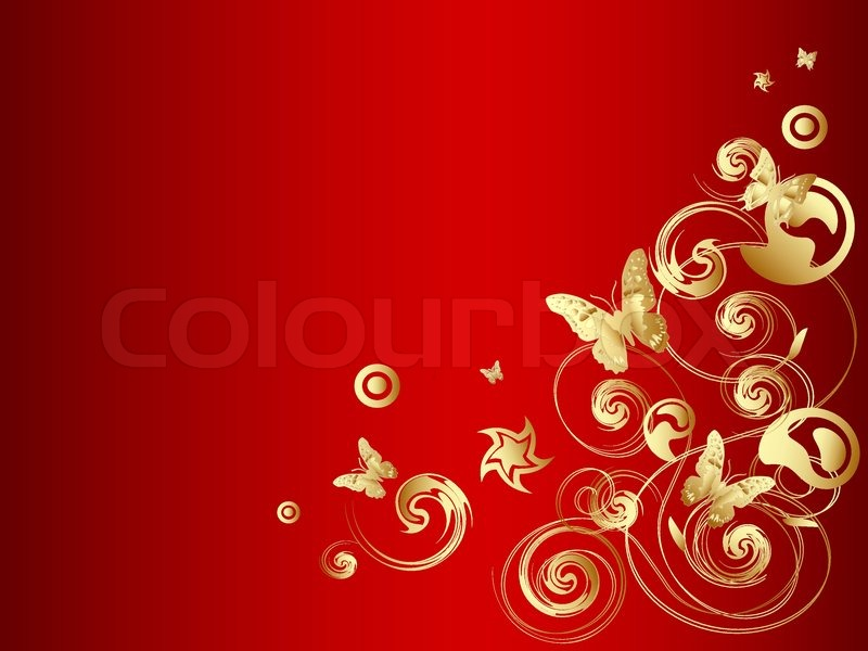 800x600 Gold Vector Butterfly With Ornate Over Red Background Stock