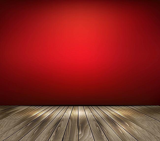 650x574 Vector Atmospheric Red Wall Wooden Floor Background, Vector