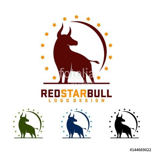 500x500 Bull Logo, Red Bull Yellow Star Design Logo Vector Stock Image