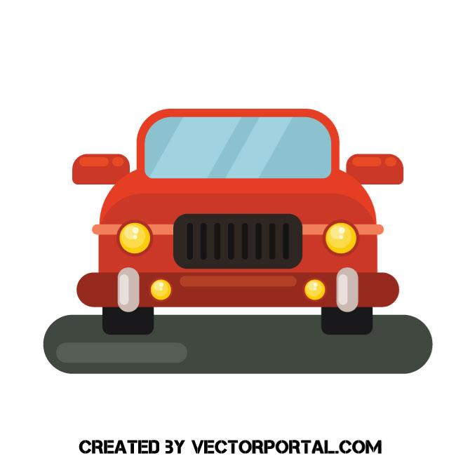 660x660 Old Red Car Vector Image