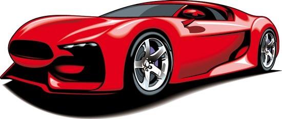 550x232 Red Sport Car Vector