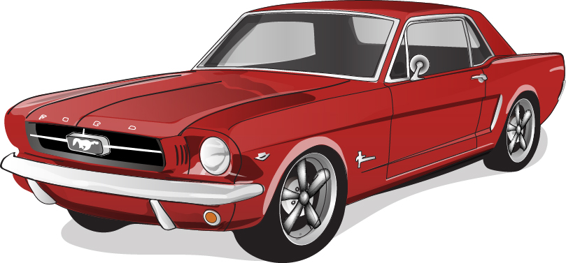 809x377 Red Vintage Car Vector Material 05 Free Download