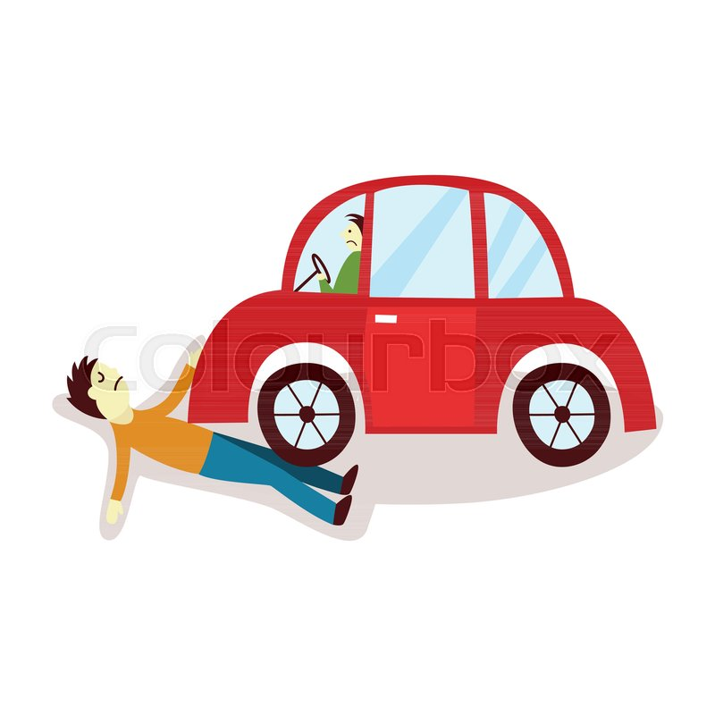 800x800 Vector Flat Cartoon Pedestrian Accident, Young Man Was Hit By Red