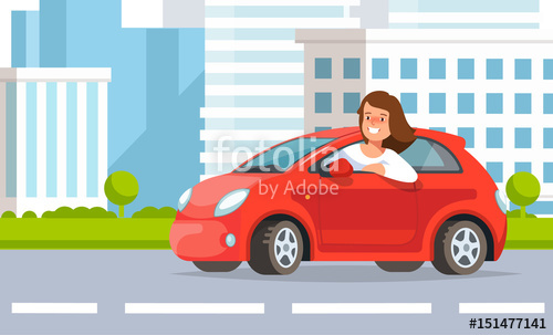 500x303 Vector Illustration Of Young Woman Auto Driver Rides In Red Car