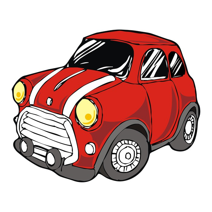 700x700 Mini Retro Red Car Cartoon Vector Wall Mural We Live
