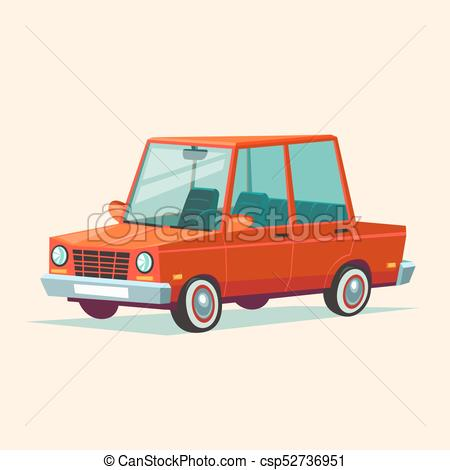 450x470 Cartoon Red Car. Vector Illustration Of Flat Design Red Car
