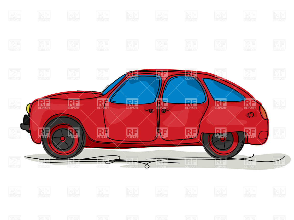 1200x900 Cartoon Style Drawing Of A Red Family Hatchback Car Vector Image