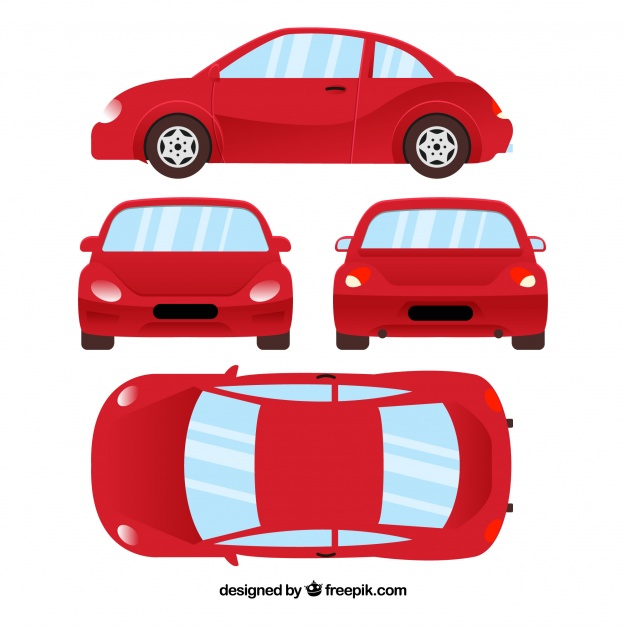 626x626 Different Views Of Red Car Vector Free Download