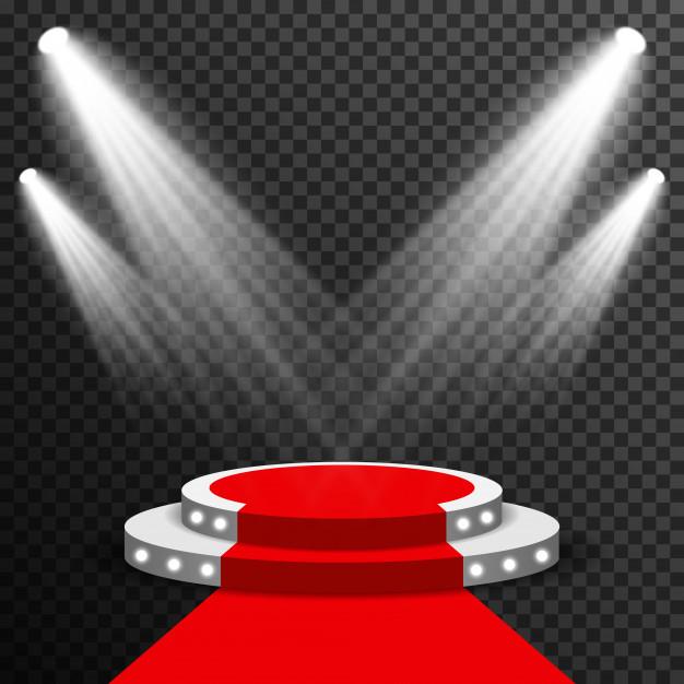 626x626 Stage Podium Illuminated With Red Carpet Vector Transparent Vector