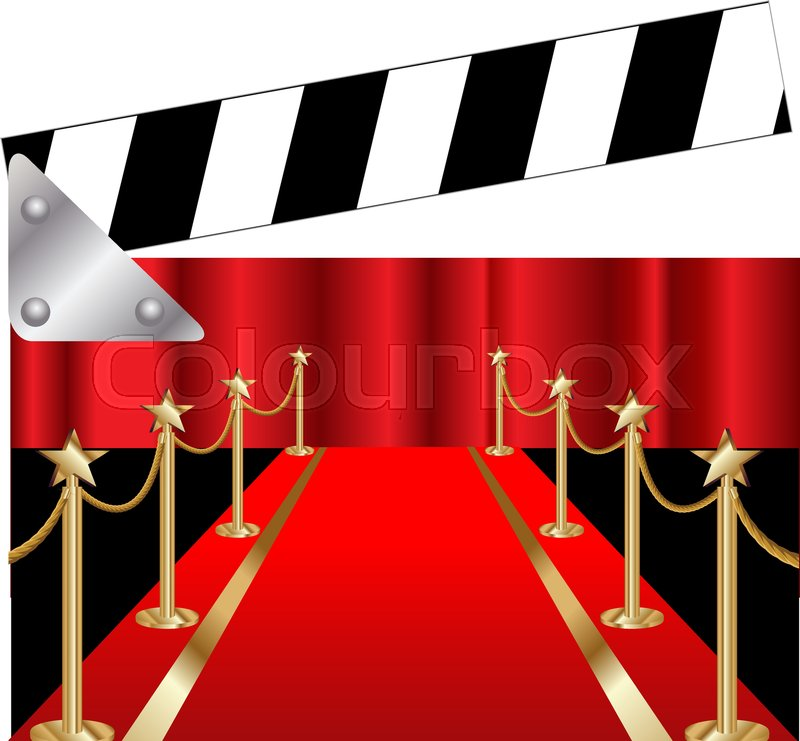 800x741 Clapper Board With Red Carpet Stock Vector Colourbox