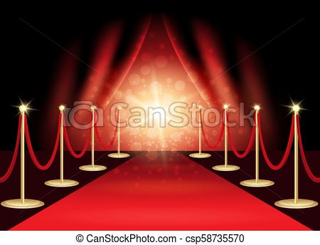 450x344 The Red Carpet. Red Carpet With Award Stage, Abstract Background