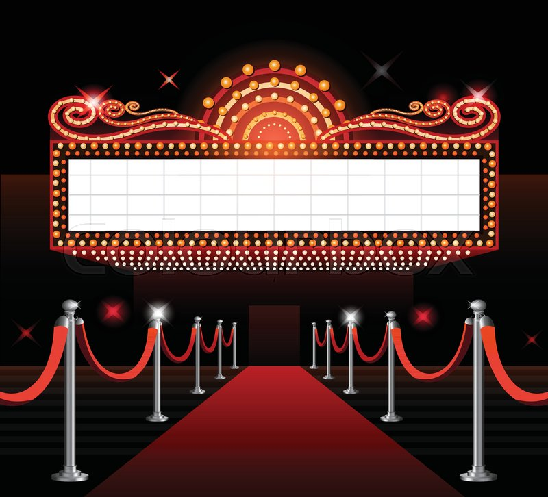 800x726 Theater Entrance Sign Movie Premiere Red Carpet Stock Vector