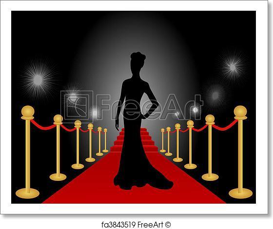 560x470 Free Art Print Of Woman Posing Red Carpet Vector . Vector
