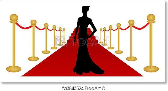 561x306 Free Art Print Of Woman Silhouette Red Carpet Vector. Vector