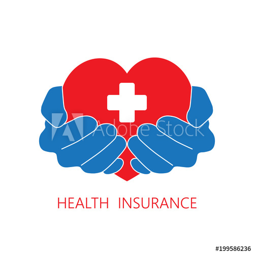 500x500 Health Insurance Icon Logo Vector Graphic Design. Hands And Red
