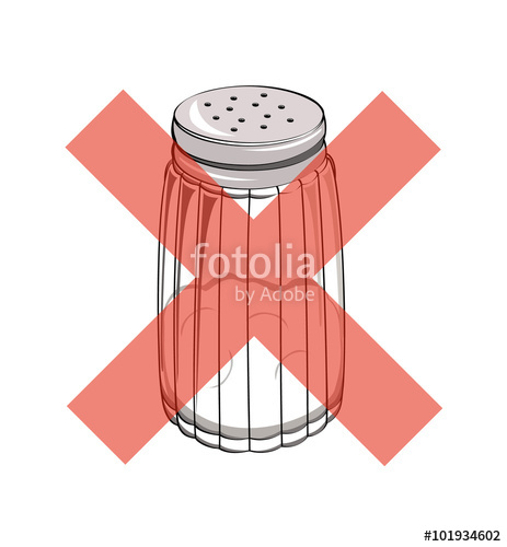 463x500 Vector Drawing Of A Salt Shaker With A Red Cross Stock Image And
