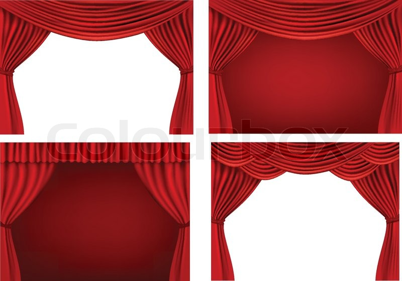 800x560 Four Backgrounds With Red Velvet Curtains. Vector Illustration