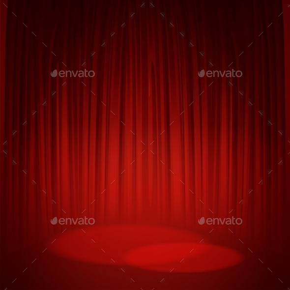 590x590 Theater Stage With Red Curtain. Vector By Vik Y Graphicriver