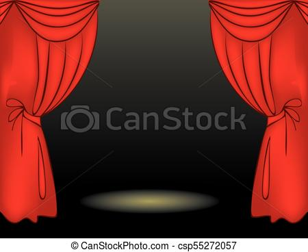450x368 Theater Stage Red Curtain. Theater Stage With Red Curtain. Vector