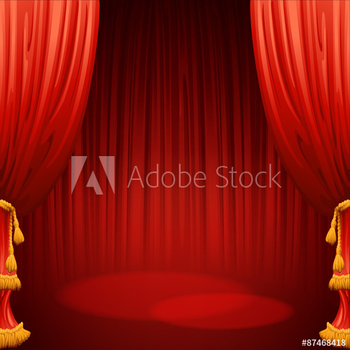 500x500 Theater Stage With Red Curtain. Vector Illustration